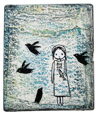 Bird Girl - Acrylic paint, ink and encaustic on plastered reclaimed wood.