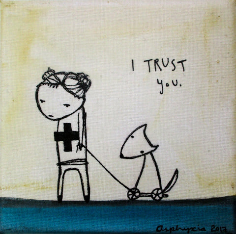 I trust you - Licorice Allsorts - Acrylic paint, ink and encaustic on canvas