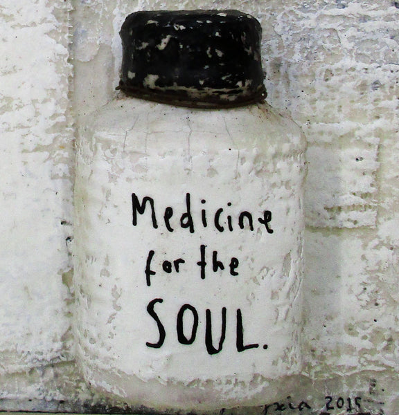 Medicine for the soul - Acrylic paint, ink, plaster gauze, found objects, wire and encaustic on reclaimed wood
