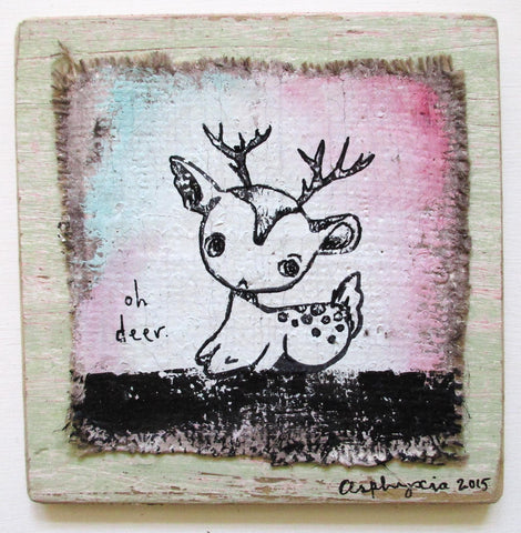 Oh Deer - Acrylic paint, ink, plaster and hessian on reclaimed wood