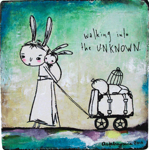 Walking into the unknown - Acrylic paint, and ink on plastered reclaimed fabric and wood