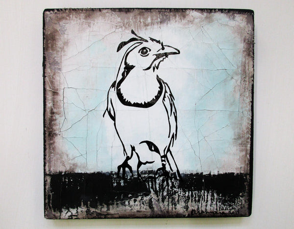 White throated magpie - Acrylic paint, oil paint and ink on plastered reclaimed fabric and wood