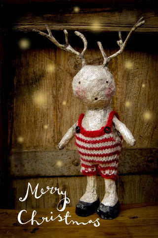 Christmas cards: Antlers and Stripes - pack of 5 cards