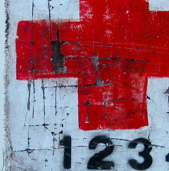 Red Cross - graffiti style art painting on plastered fabric