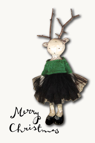 Christmas cards: Antlers and Tulle - pack of 5 cards