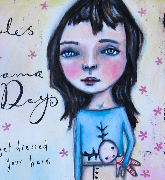 The rules of the Pyjama Day - Acrylic paint, ink and heavy paper on reclaimed wood