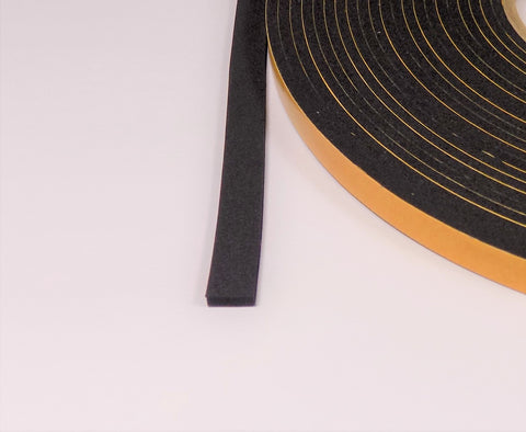 3 mm Thick / Height self adhesive soft closed cell cellular EPDM foam rubber, in all sizes of width 10 - 75 mm