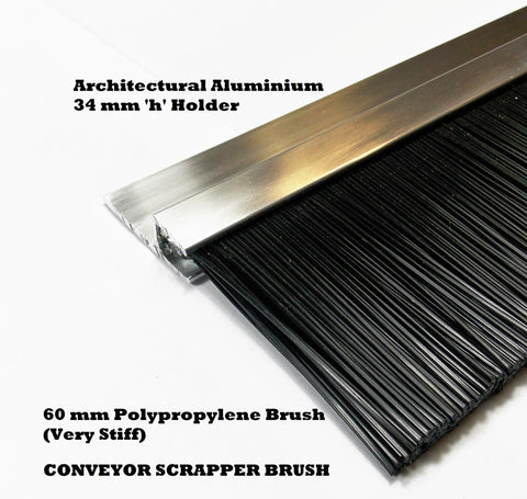 60 mm CONVEYOR SCRAPPER BRUSH STRIP, THICK POLYPROPYLENE