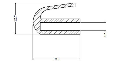 Silicone E Section U Channel Door Seal 50 Metre Length