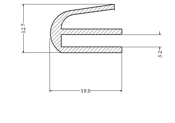 Silicone E Section U Channel Door Seal 100 Metre Length