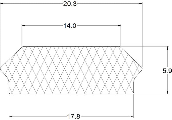 Silicone Rectangle Infill Strip - 10 Metre