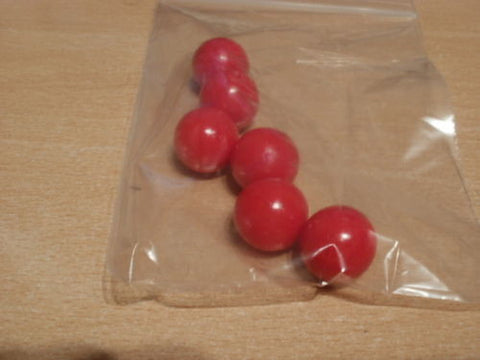 Red 19mm diameter balls, solid PVC. Will not float, games counters in schools.