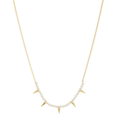 a.v.max Pearl spiked necklace from sixforgold Boutique