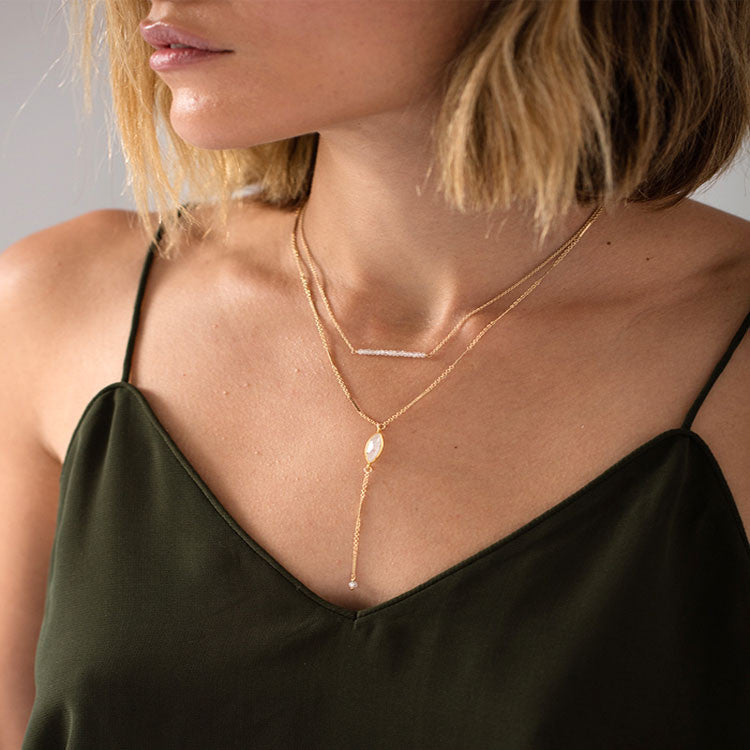 Moonstone Bar Necklace Leah Alexandra