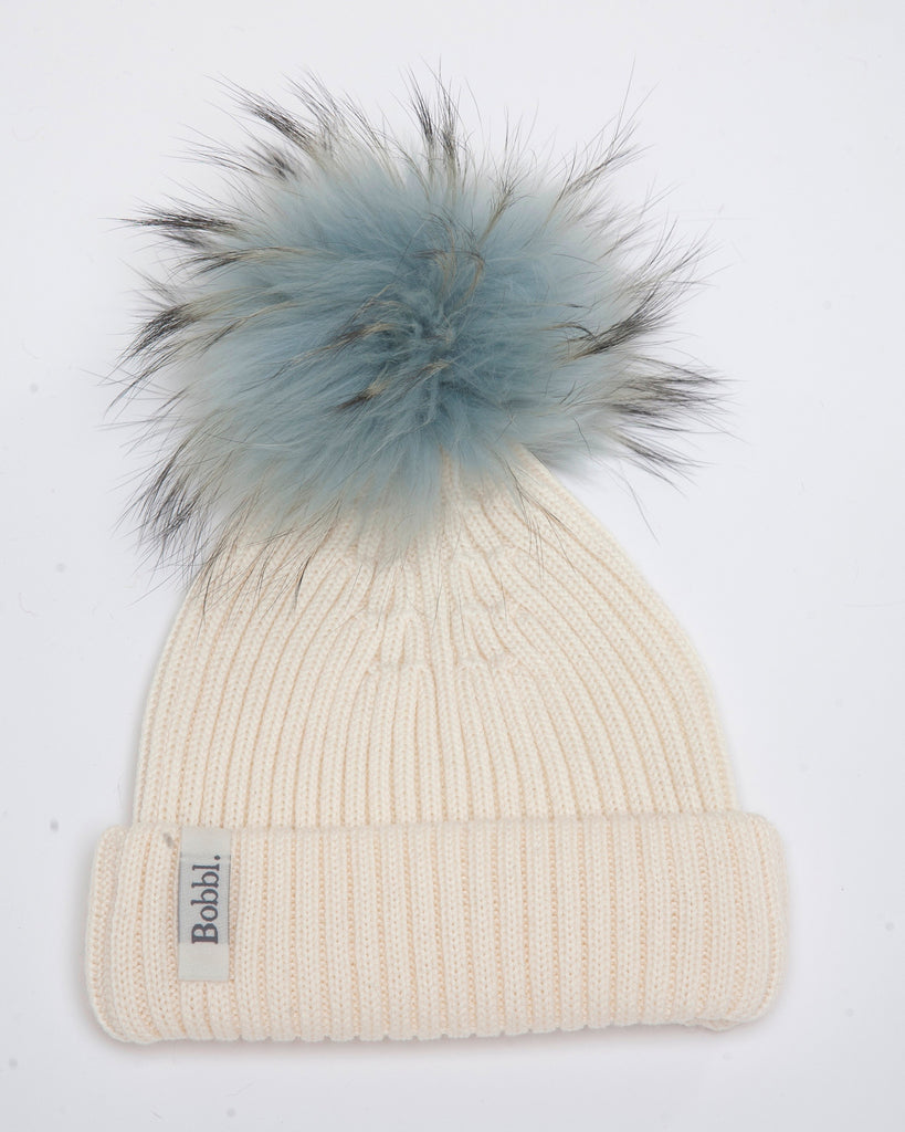 Cream Classic Hat with Duck Egg Blue Bobbl