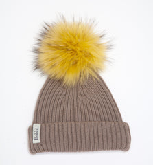 Taupe Classic Hat with Yellow Bobbl