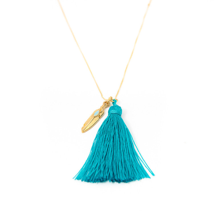 Turquoise Feather Charm Necklace Jiya Jewellery