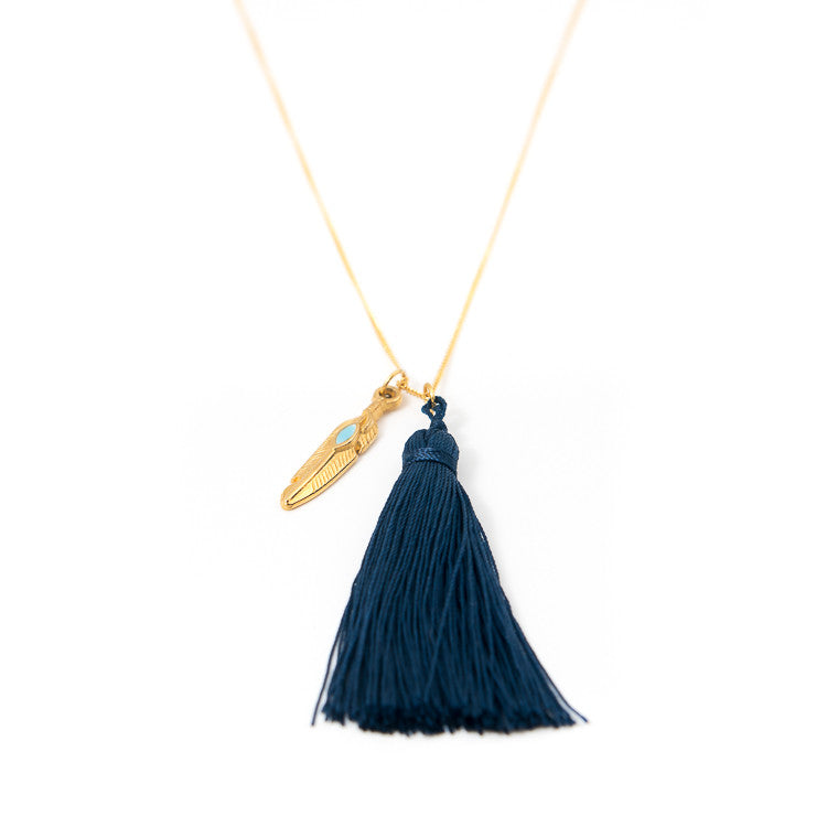 Navy Feather Charm Necklace Jiya Jewellery