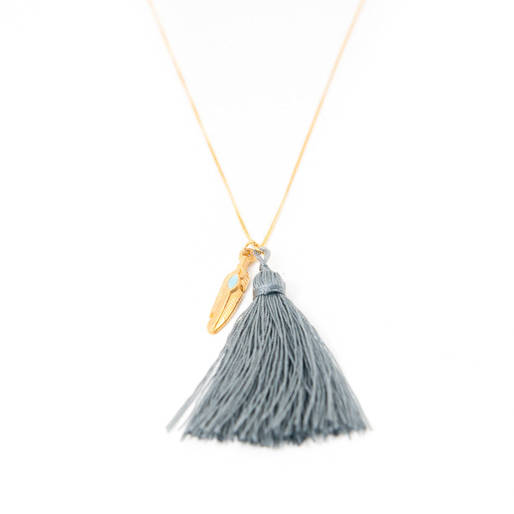 Grey Feather Charm Necklace Jiya Jewellery