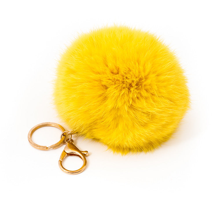 Yellow Fur Bag Charm sixforgold