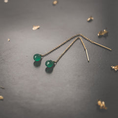 Green Onyx Threader Earrings Leah Alexandra