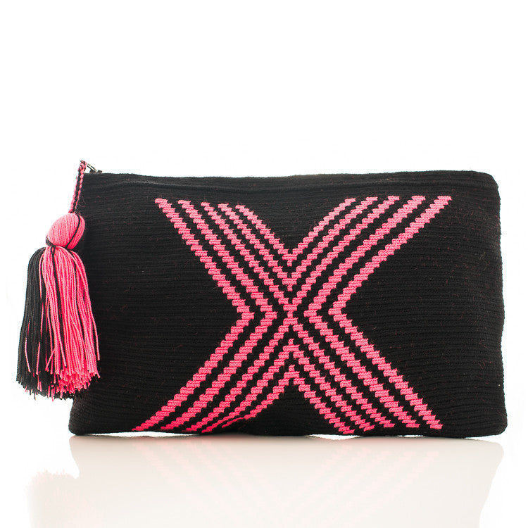 Neon Pink Fiji Wayuu Clutch Bag Jiya Jewellery