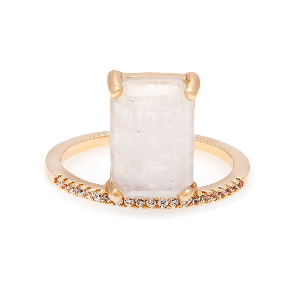 Emerald Cut Moonstone Stacker Ring Melanie Auld