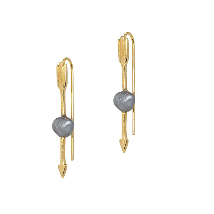 Grey Pearl Arrow Earrings anna + nina