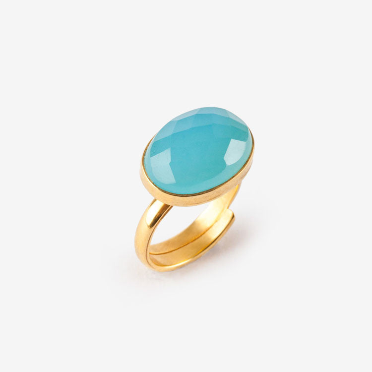 Large Blue Chalcedony Bonbon Ring SVP Jewellery