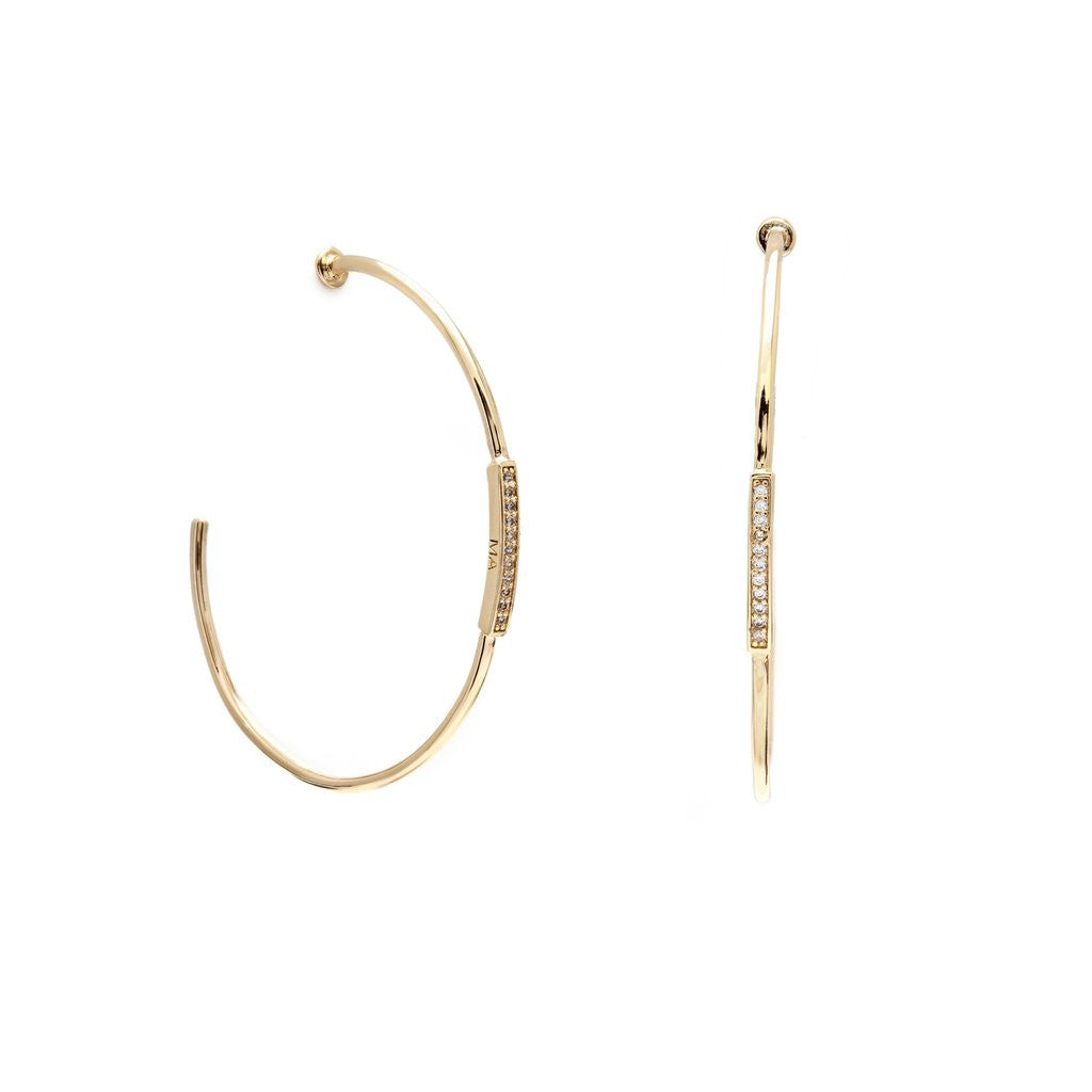Gold Pave Hoops Melanie Auld