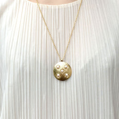 Peach Hammered Sundial Necklace Cabinet Studios