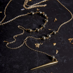 Pyrite Y Necklace from sixforgold