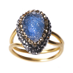 Native Gem Blue Druzy Ilume ring from sixforgold