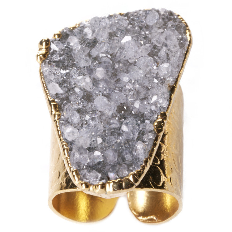 Native Gem Grey Druzy Cigar Ring from sixforgold