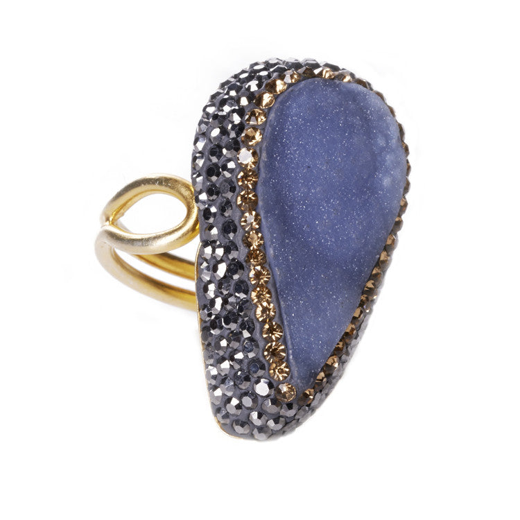 Native Gem Large Blue Chalcedony Ring from sixforgold
