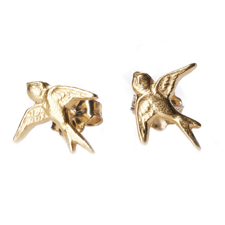 Catherine Weitzman Little Bird Gold Studs from sixforgold