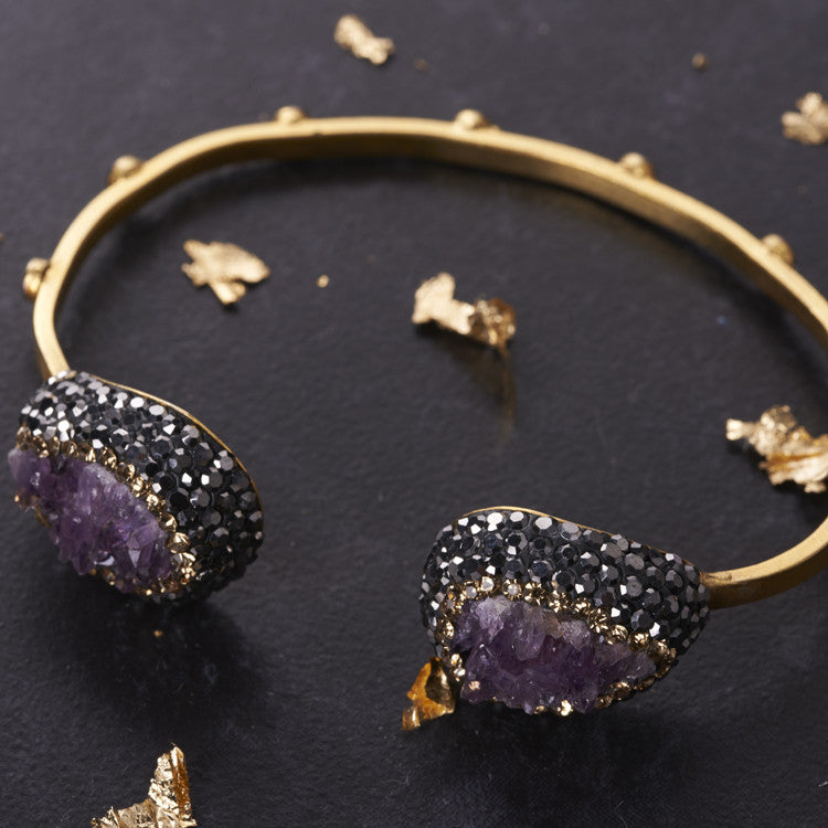Native Gem Purple Amethyst Ilume Bangle from sixforgold