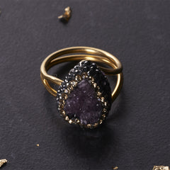 Native Gem Amethyst Druzy Tiny Ilume Ring from sixforgold Boutique
