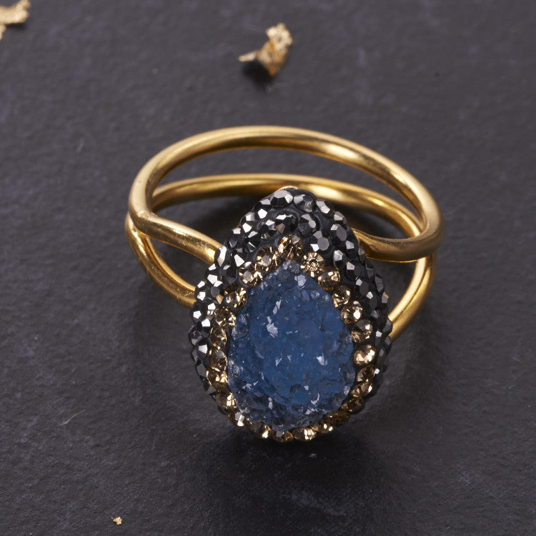 Blue Druzy Tiny Ilume Ring