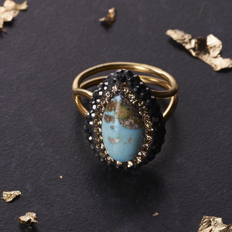 Native Gem Turquoise Tiny Ilume Ring from sixforgold