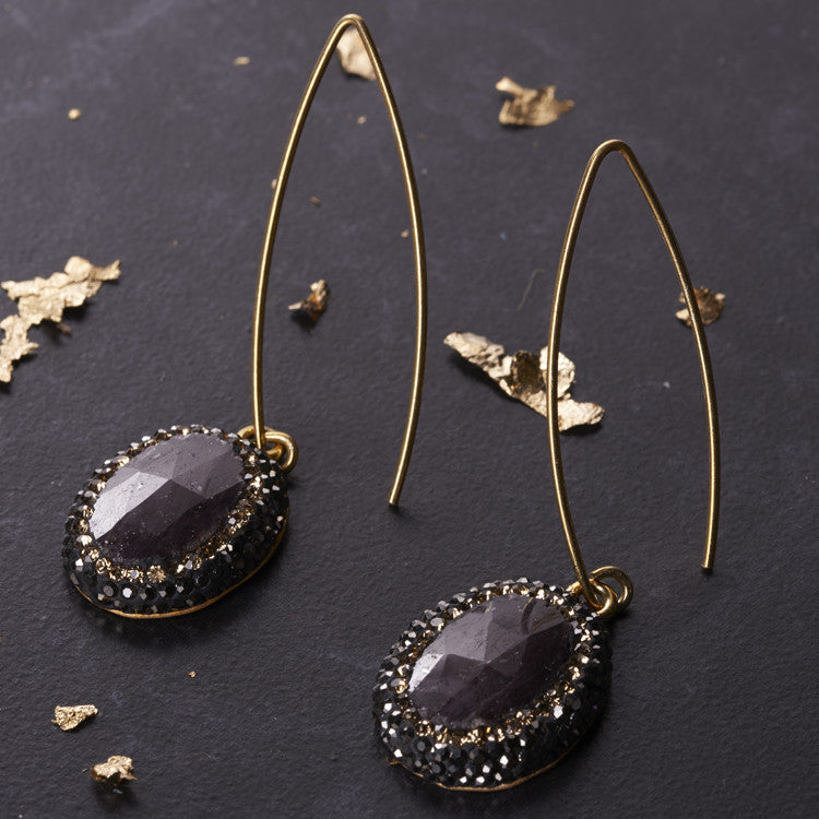 Native Gem Dark Purple Sapphire Earrings from sixforgold
