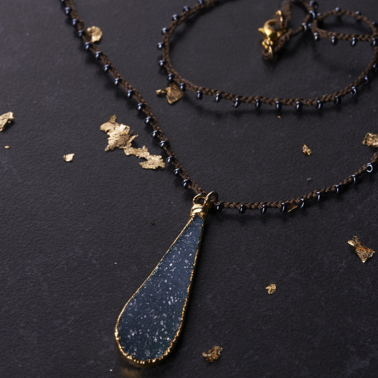 Native Gem Blue Skinny Druzy Necklace from sixforgold