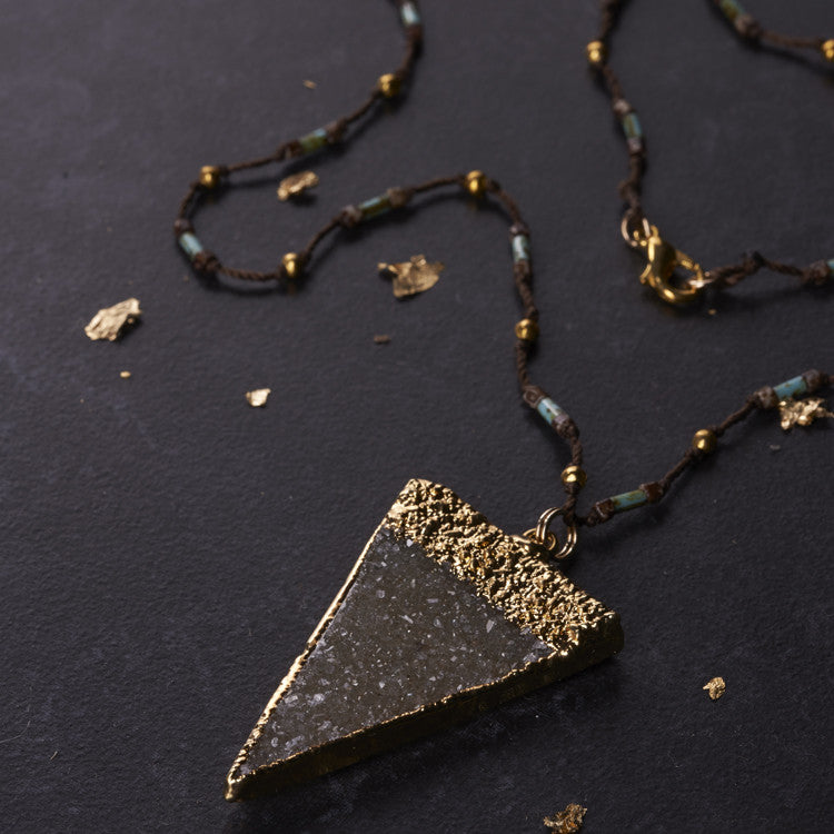 Native Gem Grey Triangle Druzy Necklace from sixforgold