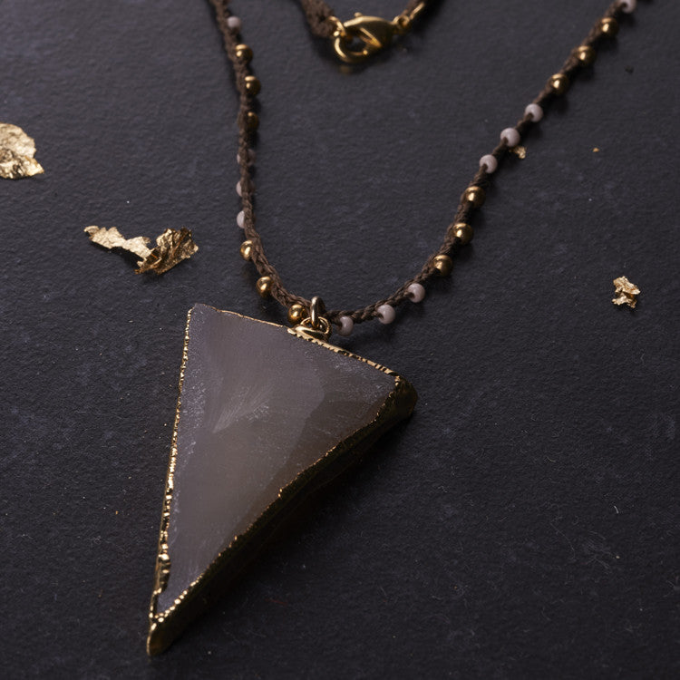 Native Gem Dark Pink Druzy Triangle Necklace from sixforgold