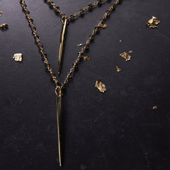 Heather Hawkins Double Dagger necklace in Smokey Quartz from sixforgold