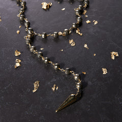 Pyrite Tiny Dagger Necklace
