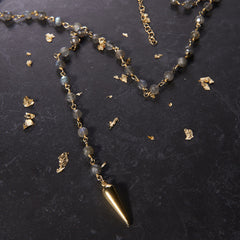 Heather Hawkins Smokey Quartz Tiny Dagger Necklace from sixforgold