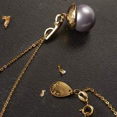 Mauve Pearl Halo Necklace