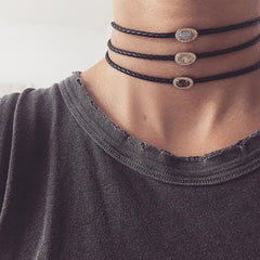 Braided leather chokers Melanie Auld