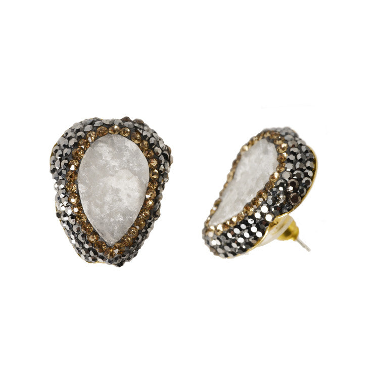 White Druzy Everyday Studs